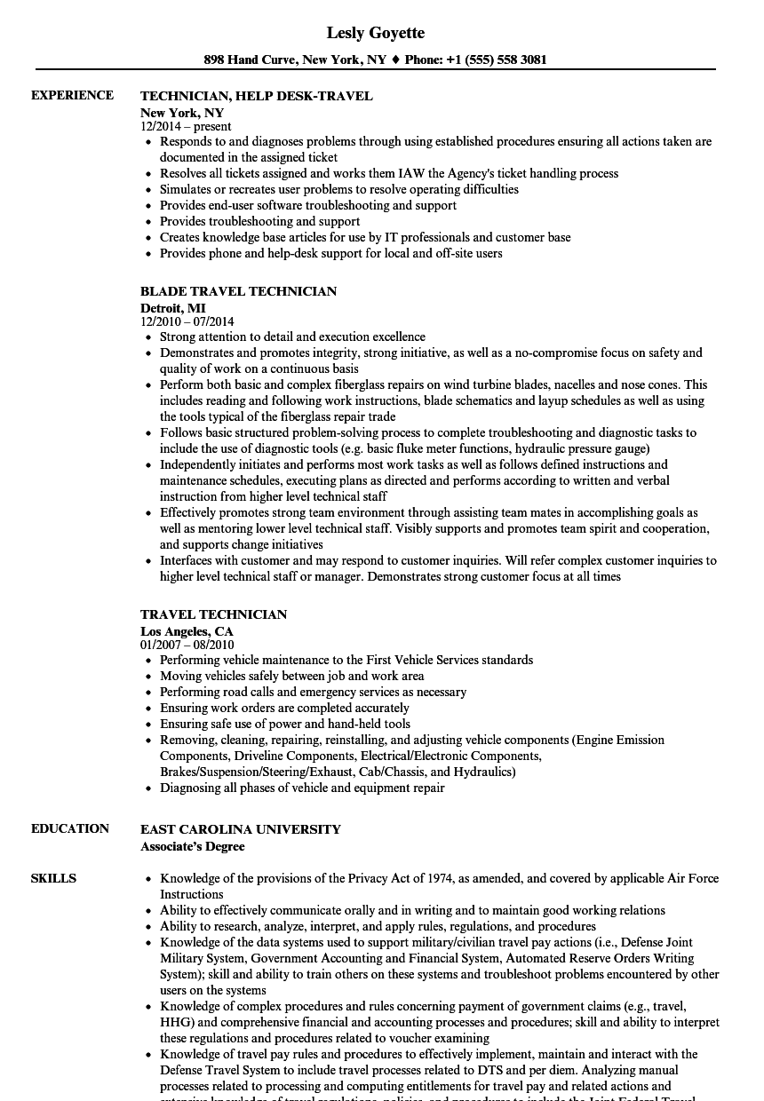 Download Travel Technician Resume Sample As Image File