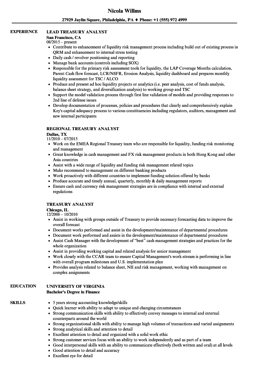 Treasury Analyst Resume Samples | Velvet Jobs