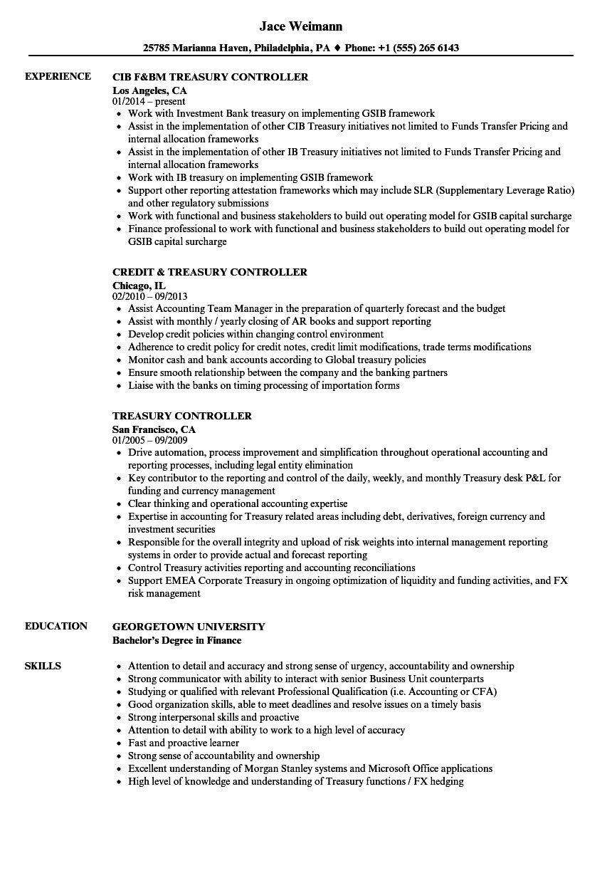 treasury controller resume sample as image file