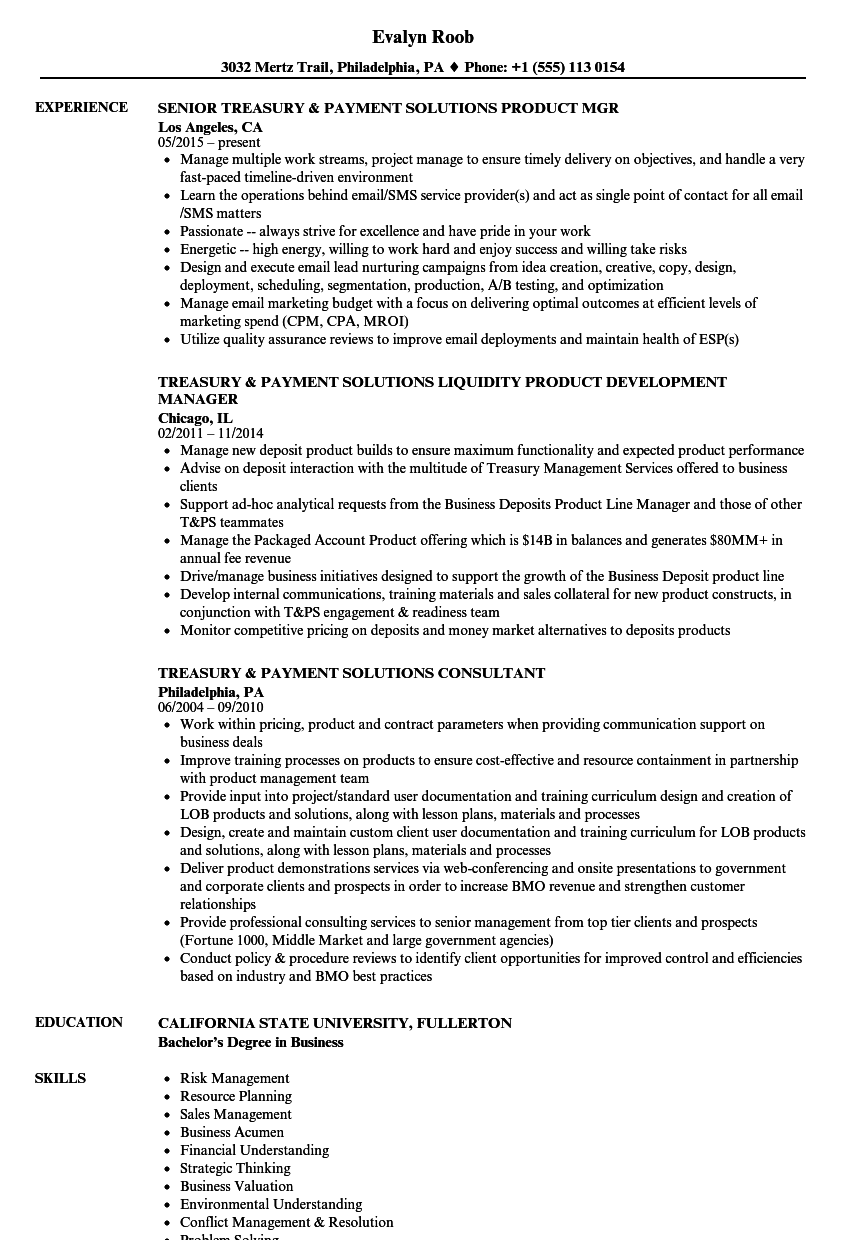 treasury  u0026 payment solutions resume samples