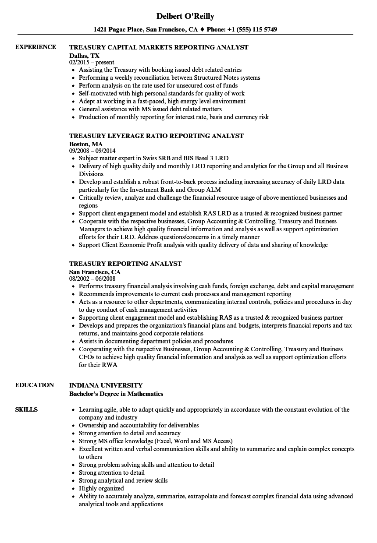 treasury reporting resume samples
