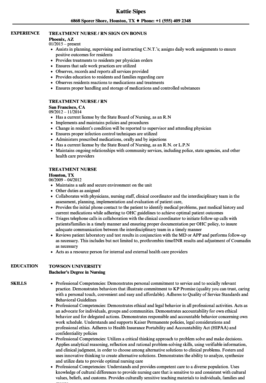 treatment nurse resume samples