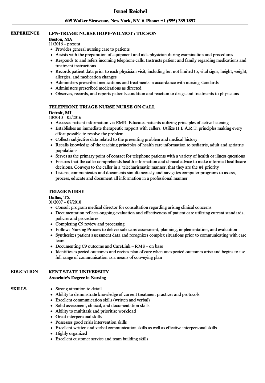 triage nurse resume samples