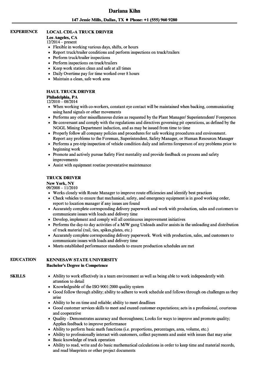Truck Driver Resume Samples | Velvet Jobs