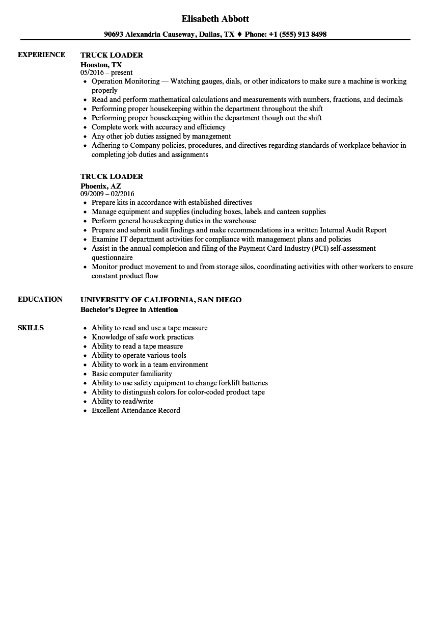 Truck Loader Resume Samples | Velvet Jobs