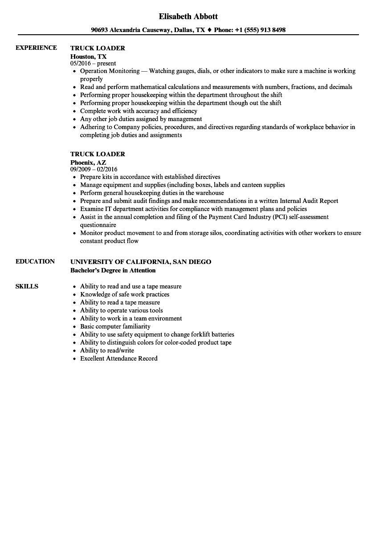 download truck loader resume sample as image file