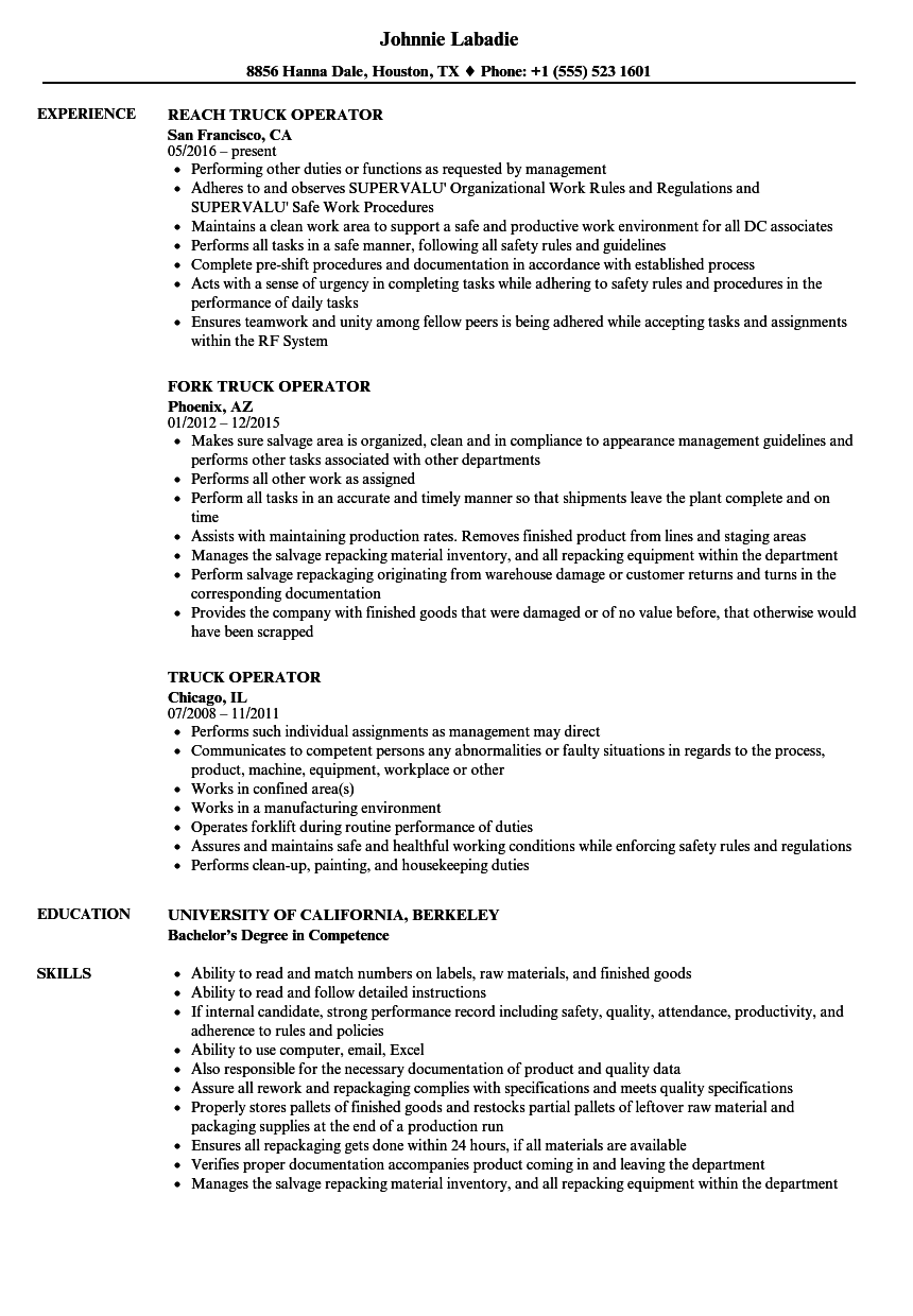 Download Truck Operator Resume Sample As Image File