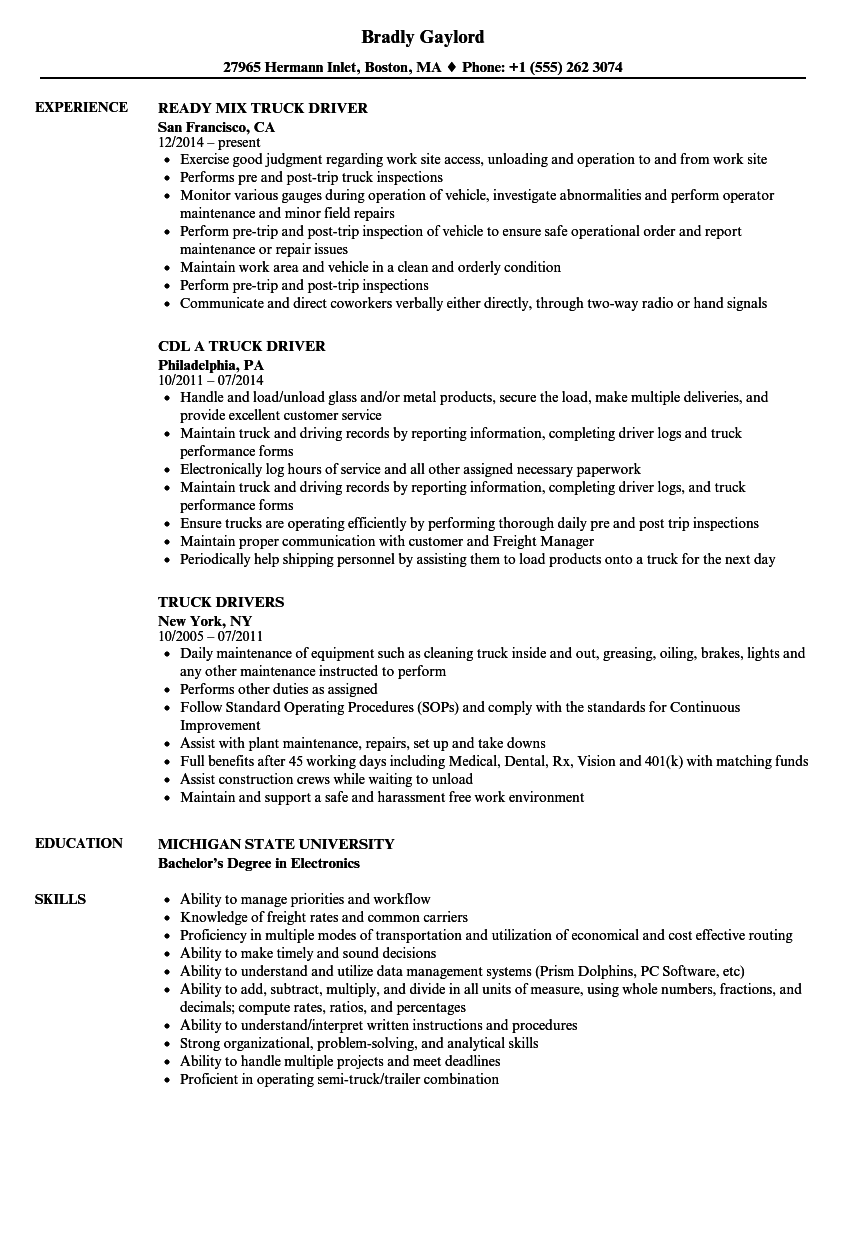 Download Truck Resume Sample As Image File