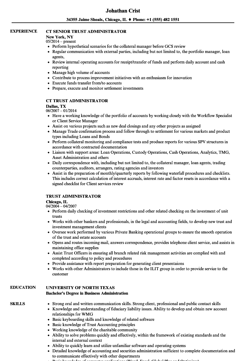 business administration resume samples