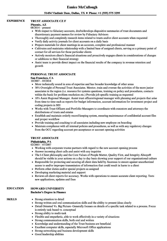 trust associate resume samples