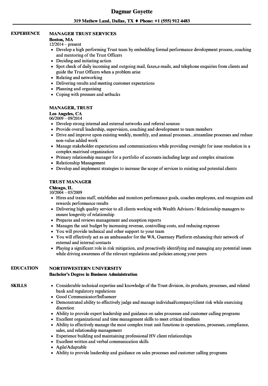 trust manager resume samples