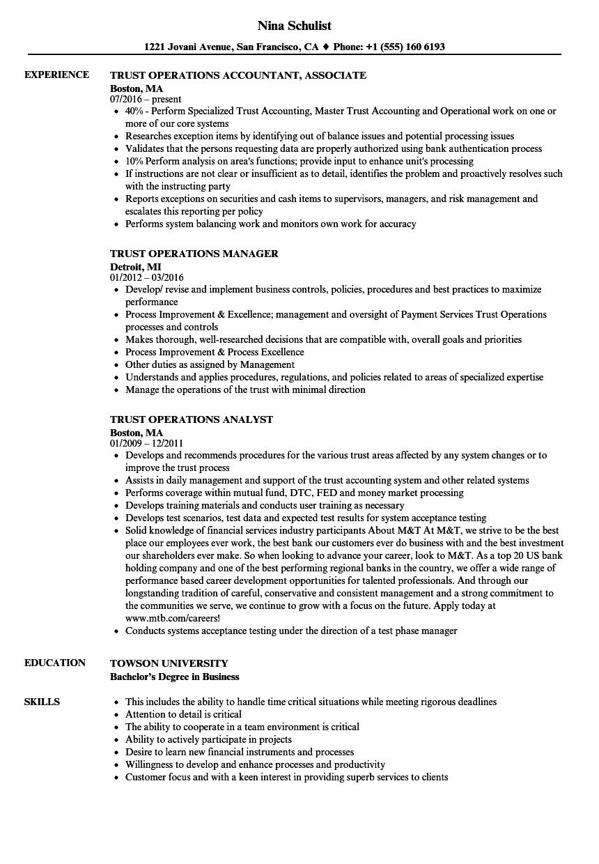 trust operations resume samples