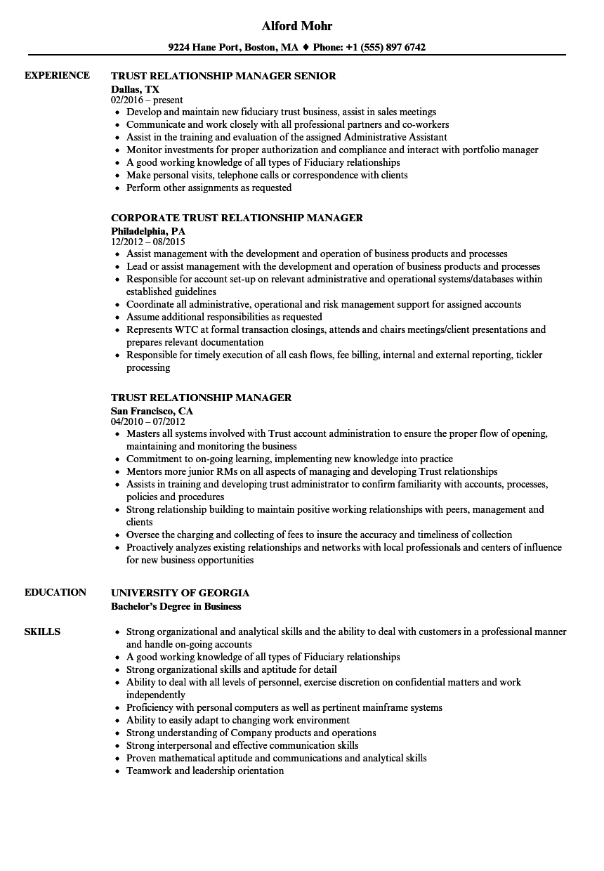 trust relationship manager resume samples