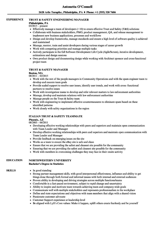 trust  u0026 safety resume samples