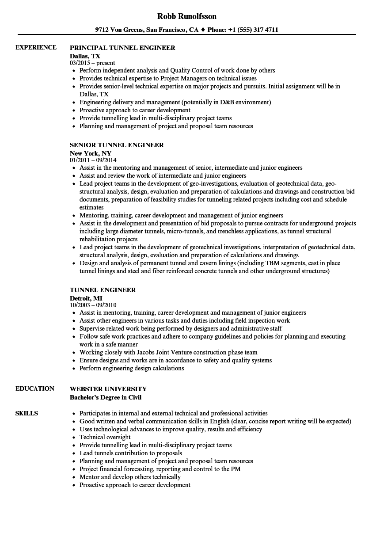 Tunnel Engineer Resume Samples | Velvet Jobs
