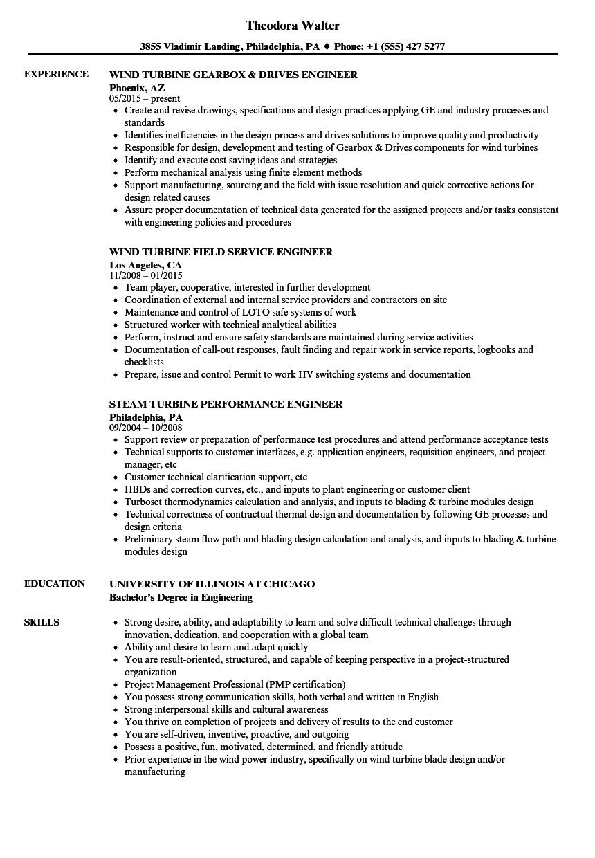 Turbine Engineer Resume Samples | Velvet Jobs