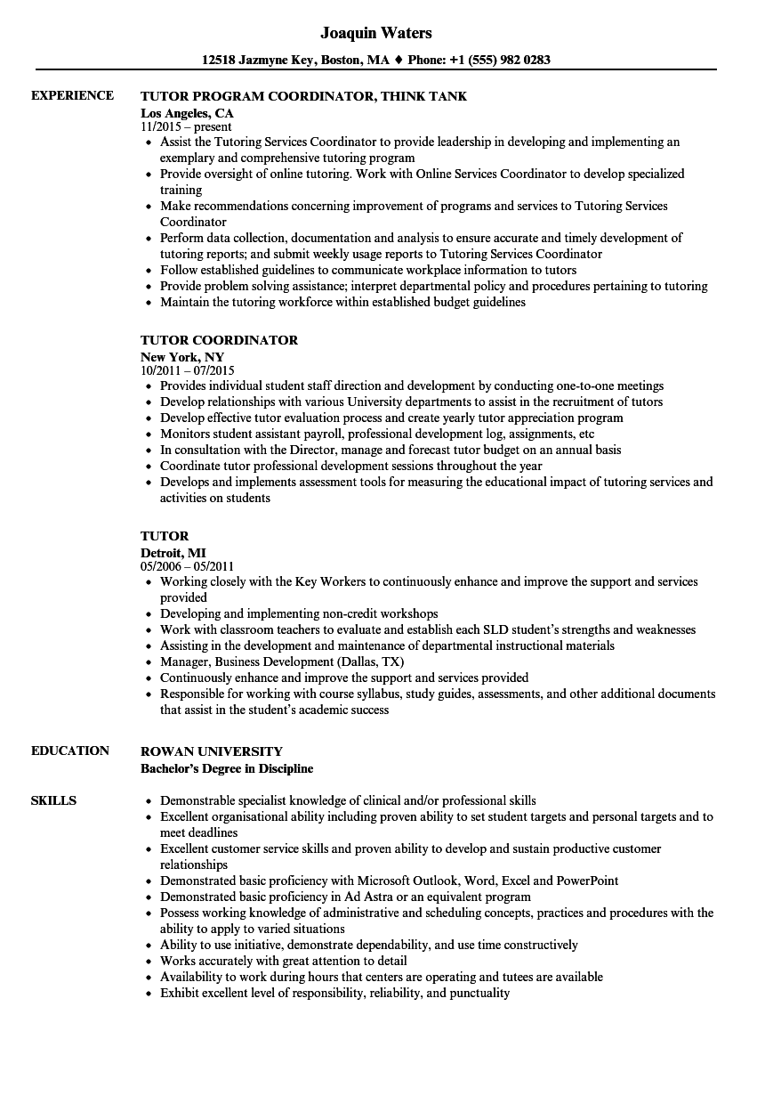 tutor resume samples