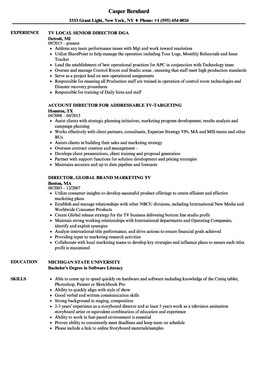 Tv-director Resume Samples | Velvet Jobs