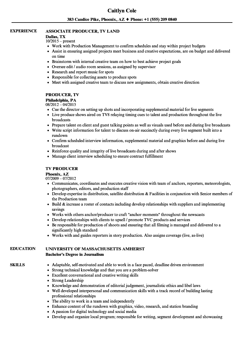 Tv Producer Job Description Resume