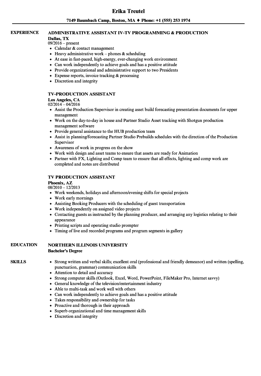 resume Production Assistant Resume tv production assistant resume samples velvet jobs download sample as image file