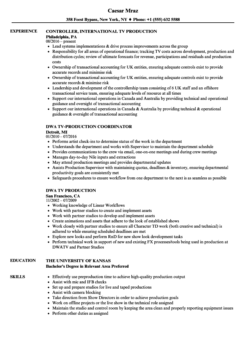 Download TV Production Resume Sample As Image File  Production Resume Examples