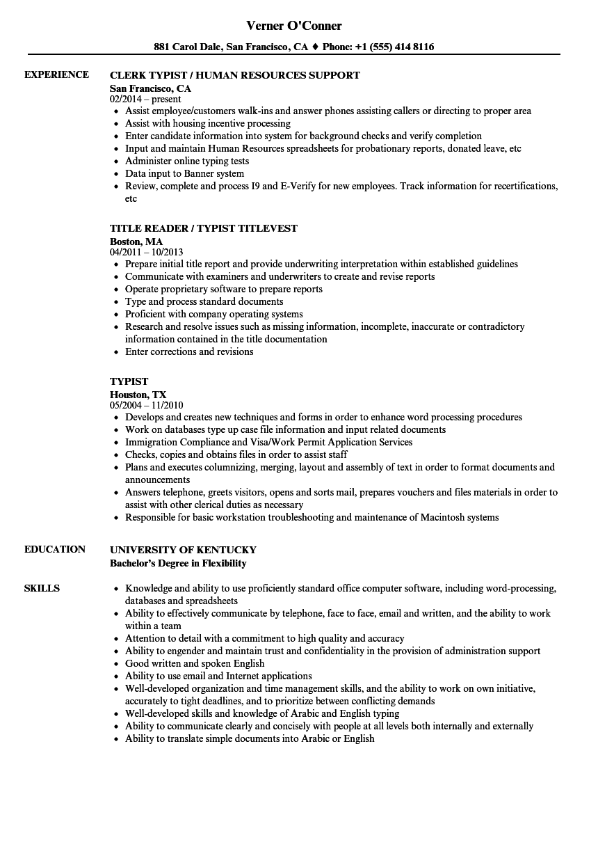 Typist Resume Samples | Velvet Jobs