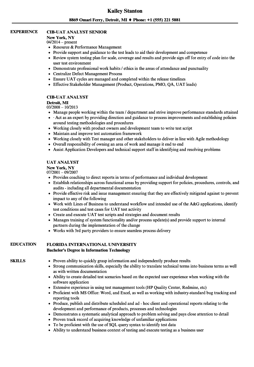 Uat Analyst Resume Samples Velvet Jobs