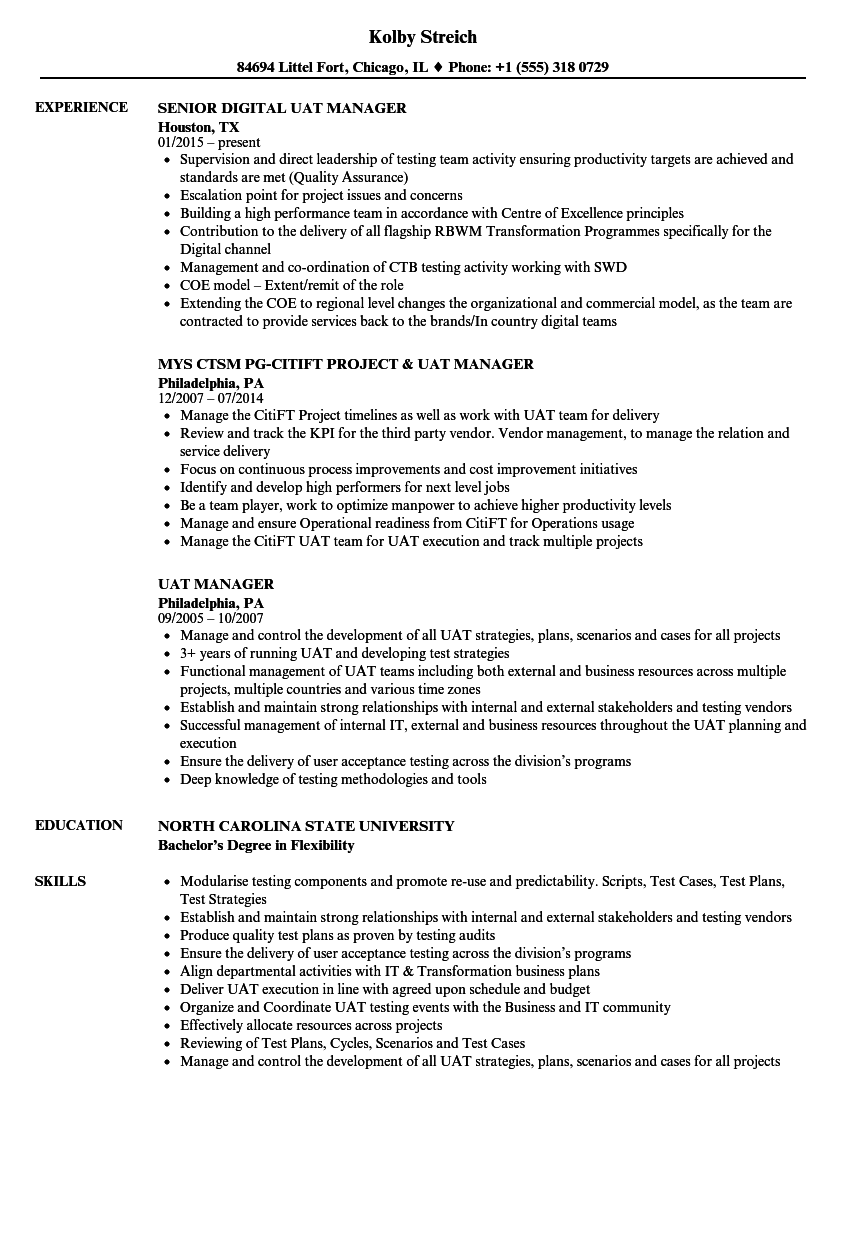 uat manager resume samples