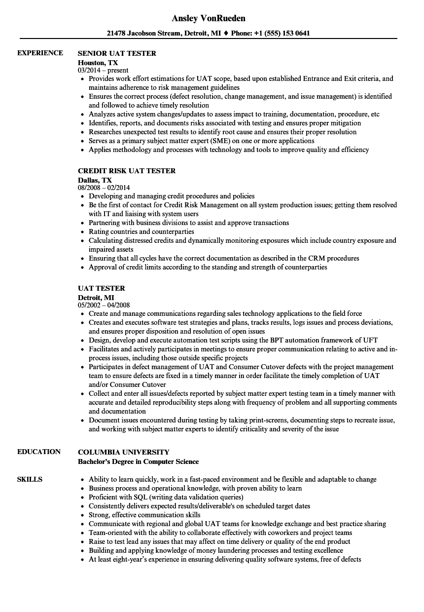 UAT Tester Resume Samples | Velvet Jobs