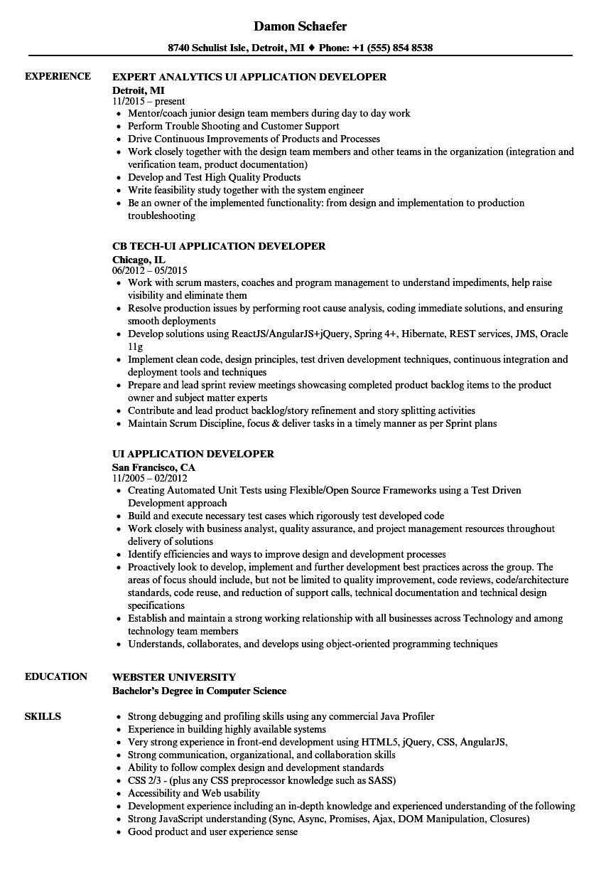 UI Application Developer Resume Samples | Velvet Jobs