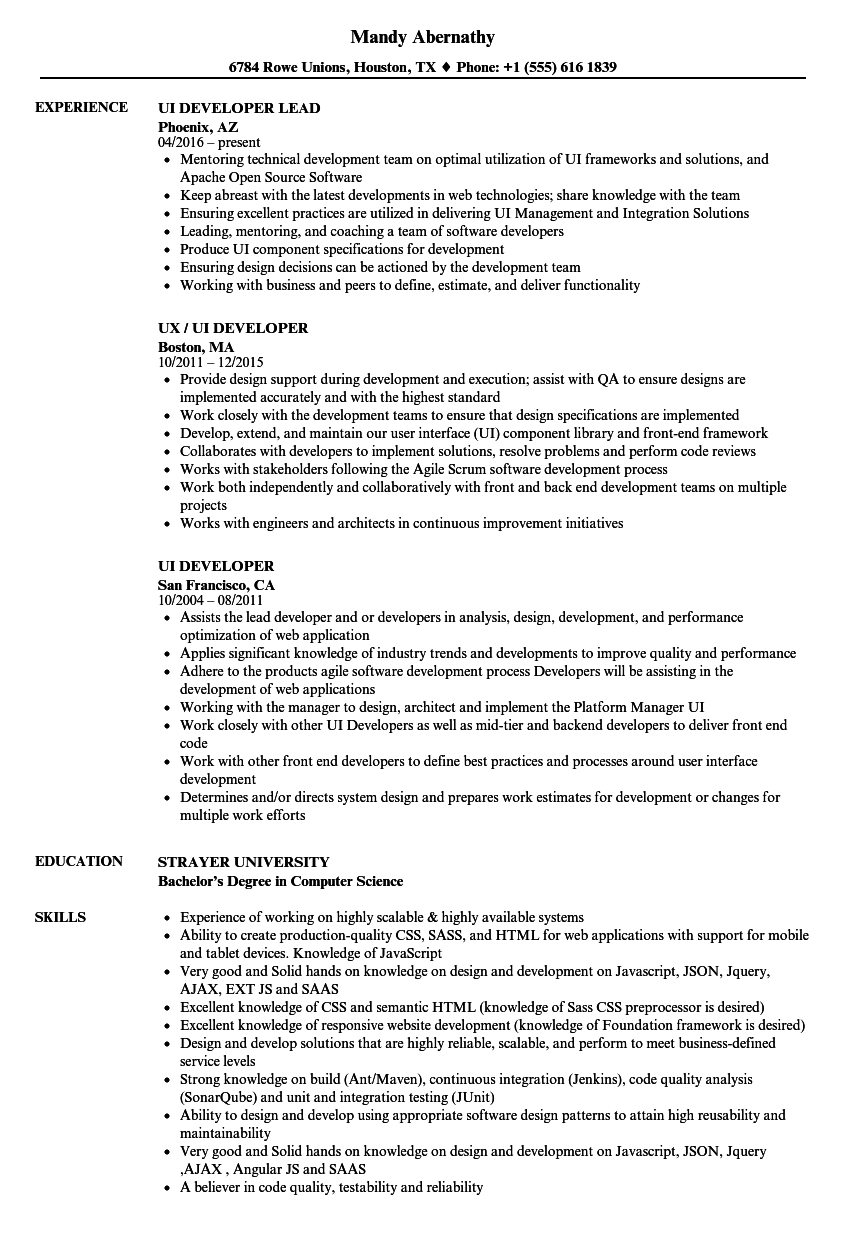 UI Developer Resume Samples Velvet Jobs