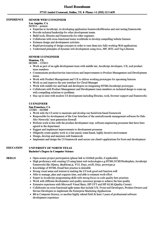 ui engineer resume samples