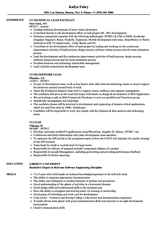 UI Lead Resume Samples | Velvet Jobs