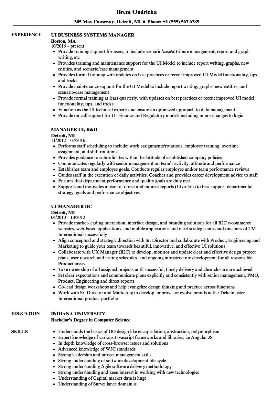 UI Manager Resume Samples | Velvet Jobs