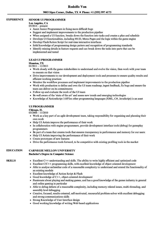 ui programmer resume samples