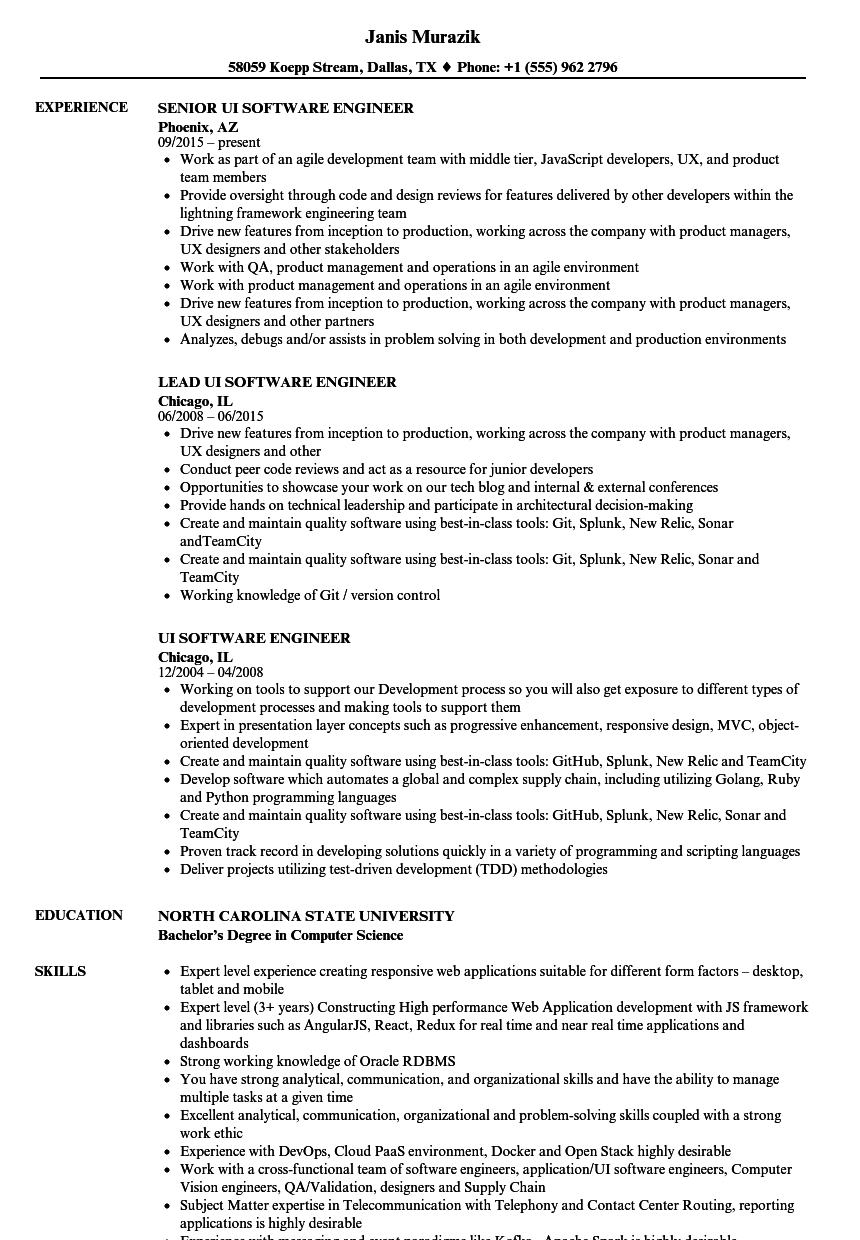 ui software engineer resume samples velvet jobs