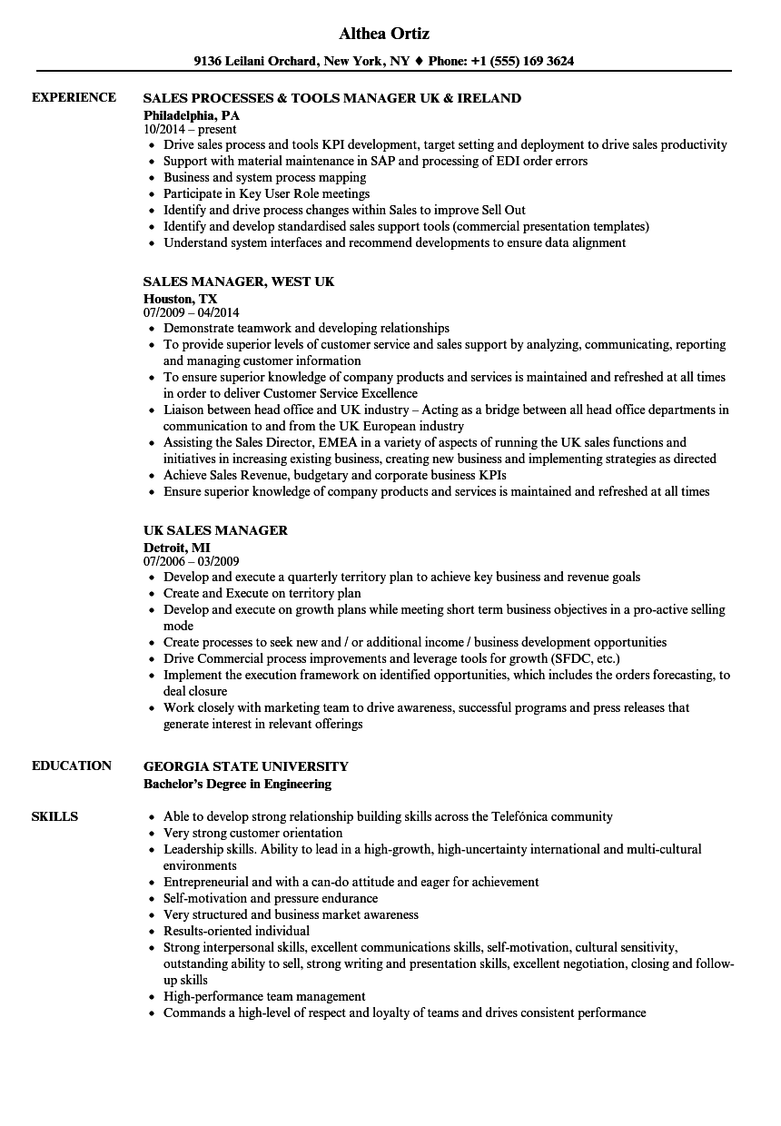 UK Sales Manager Resume Samples | Velvet Jobs