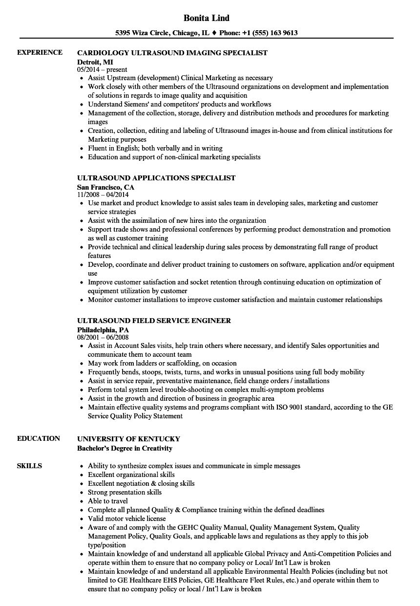 ultrasound applications specialist sample resume fashion