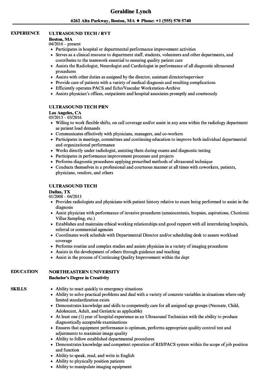 Velvet Jobs  Ultrasound Resume