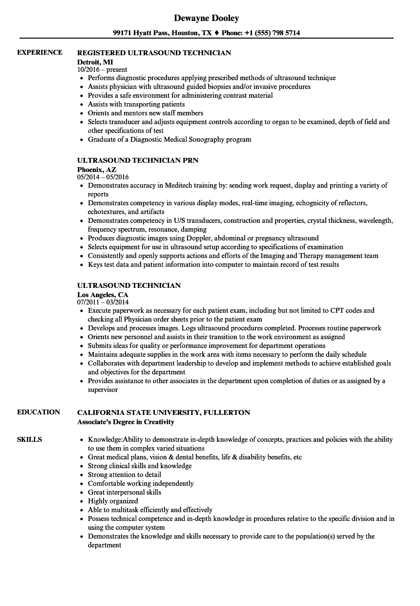 Ultrasound Technician Resume Samples Velvet Jobs