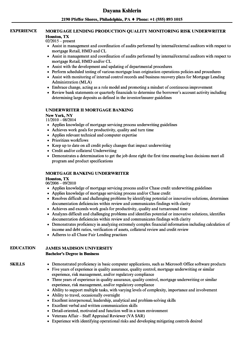 Download Underwriter Mortgage Resume Sample As Image File