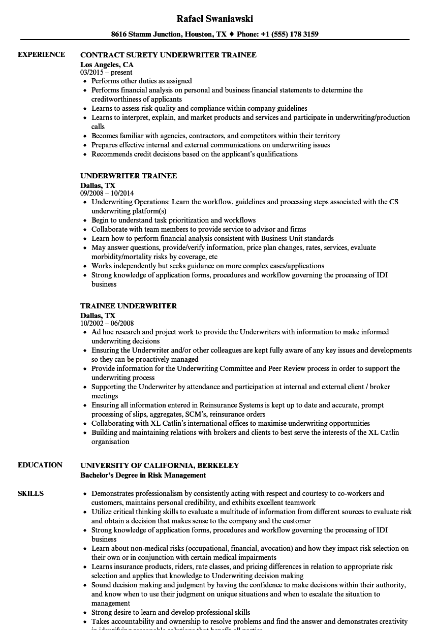 underwriter trainee resume samples