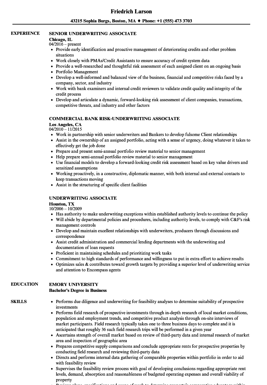 underwriting associate resume samples