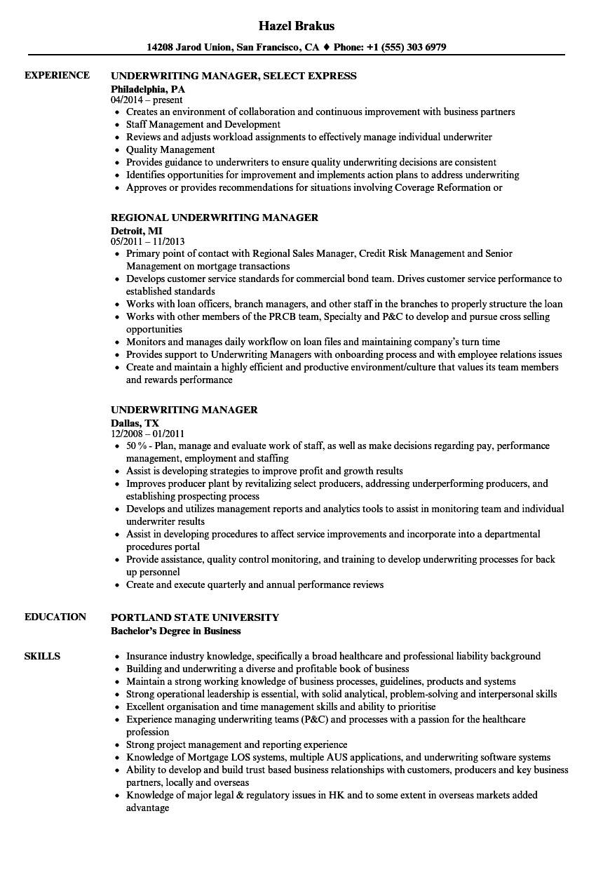Underwriting Manager Resume Samples