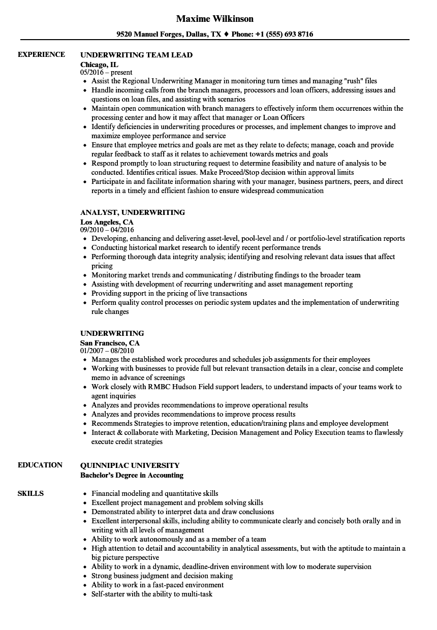 Underwriting Resume Samples Velvet Jobs