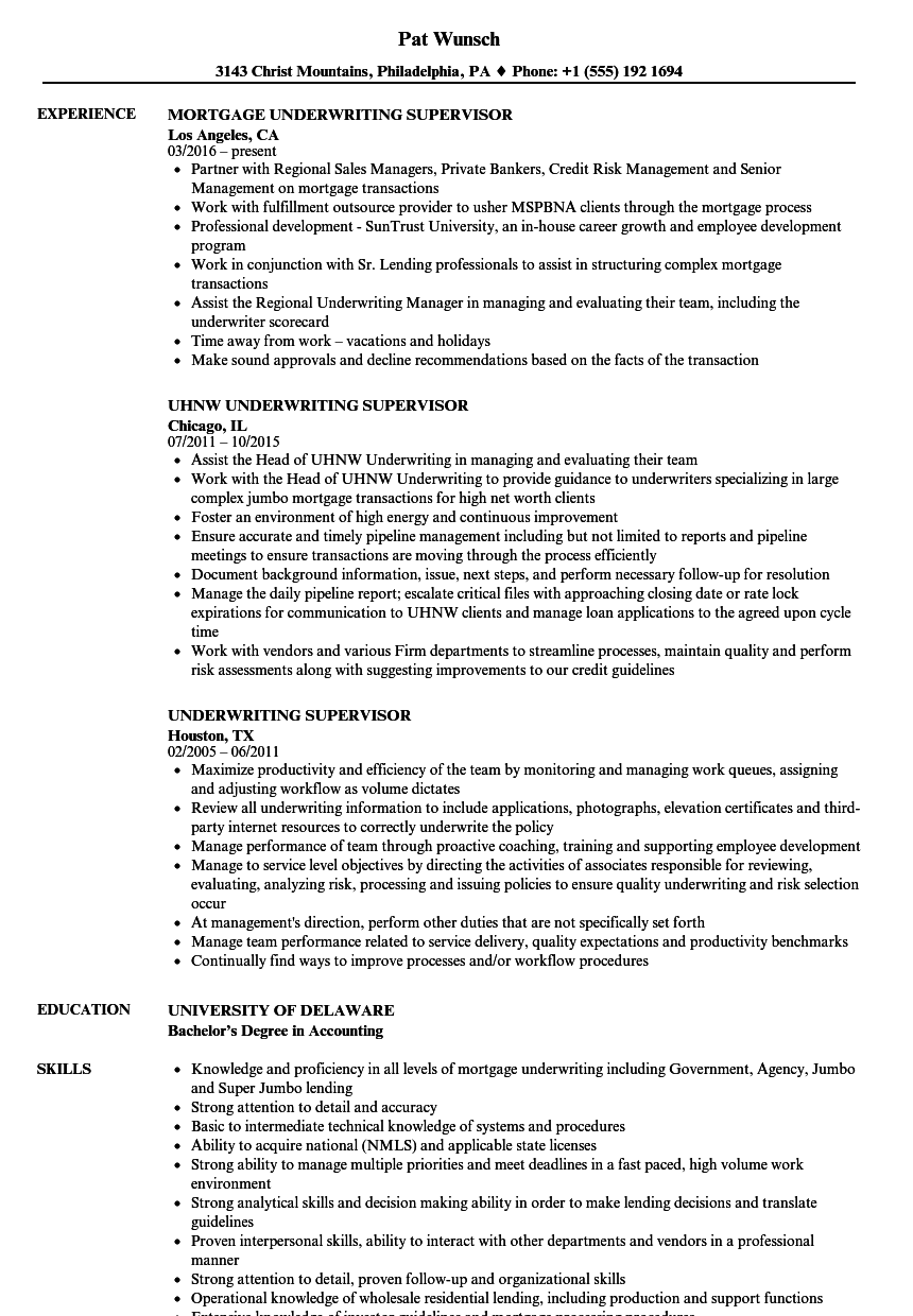 Underwriting Supervisor Resume Samples Velvet Jobs