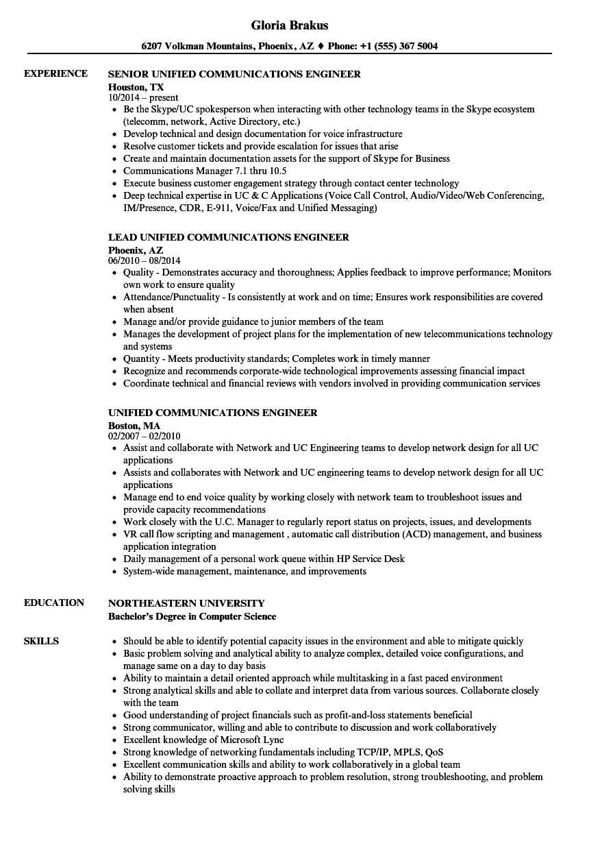 Unified Communications Engineer Resume Samples | Velvet Jobs