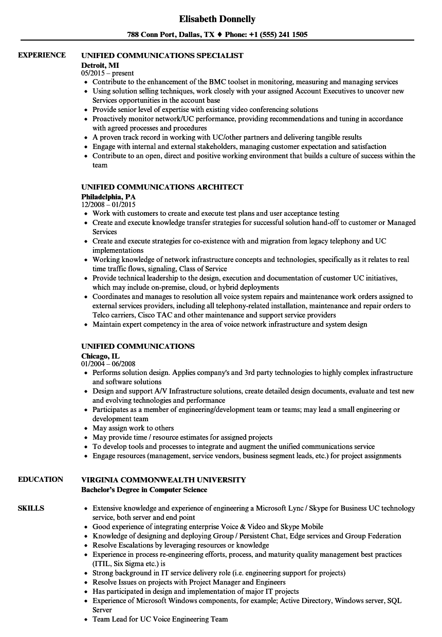 unified communications resume samples velvet jobs