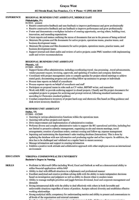 Unit Assistant Resume Samples | Velvet Jobs