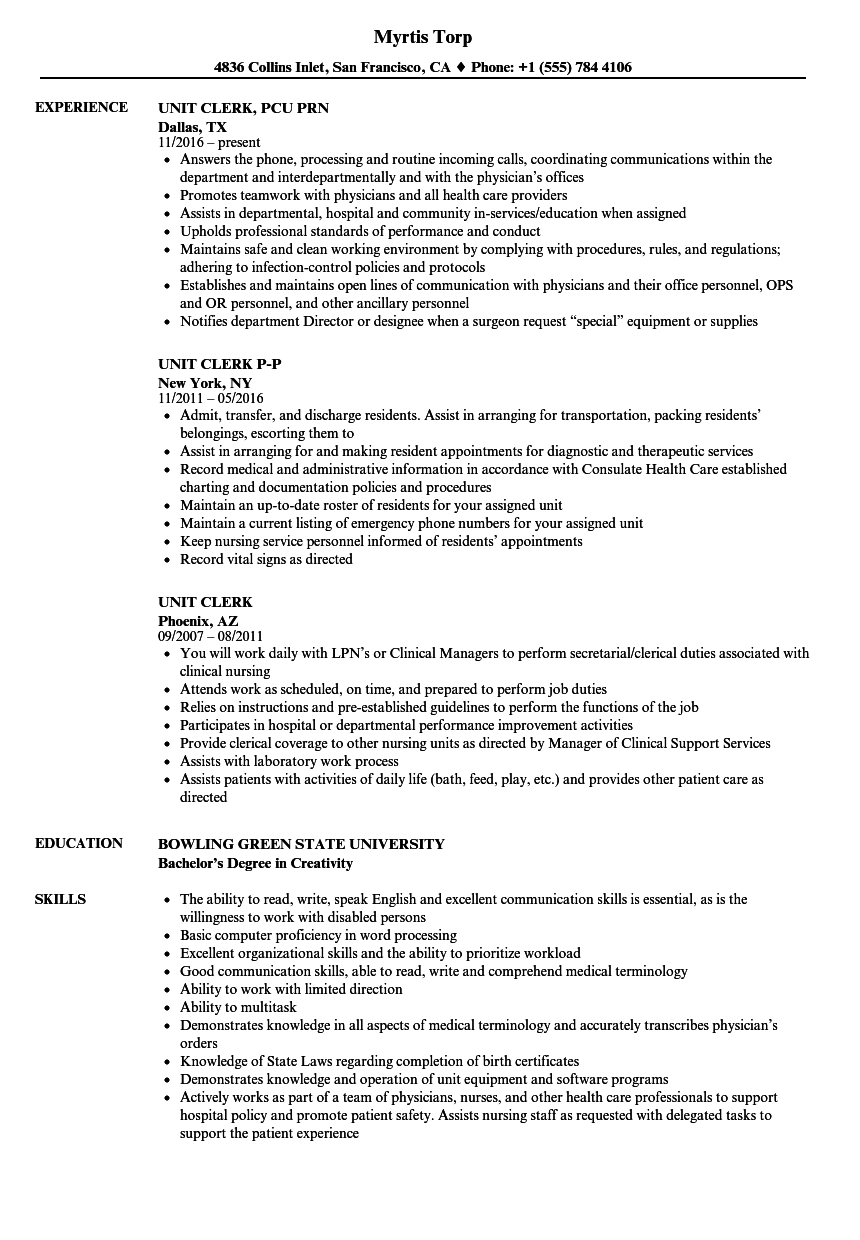 Unit Clerk Resume Samples Velvet Jobs